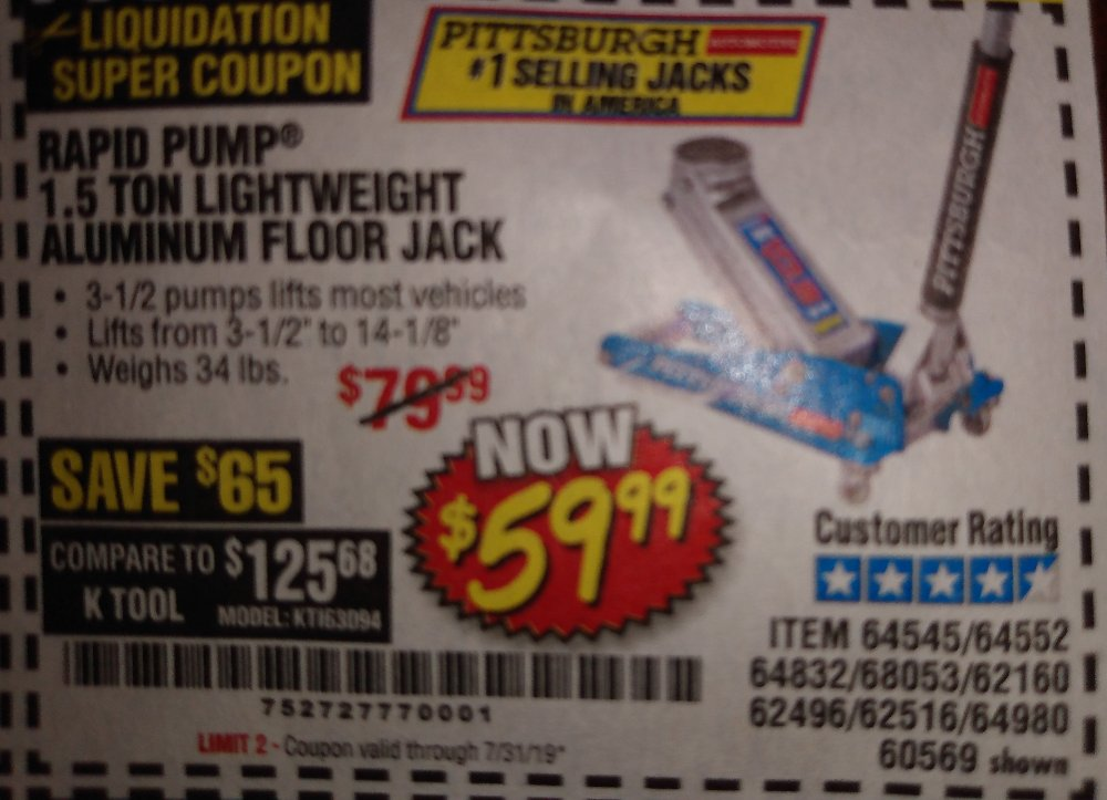 Harbor Freight Coupon, HF Coupons - 1.5 Ton Lightweight Aluminum Jack
