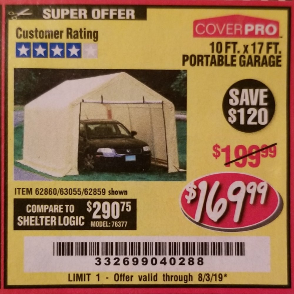 Harbor Freight Coupon, HF Coupons - 10 Ft. X 17 Ft. Portable Garage