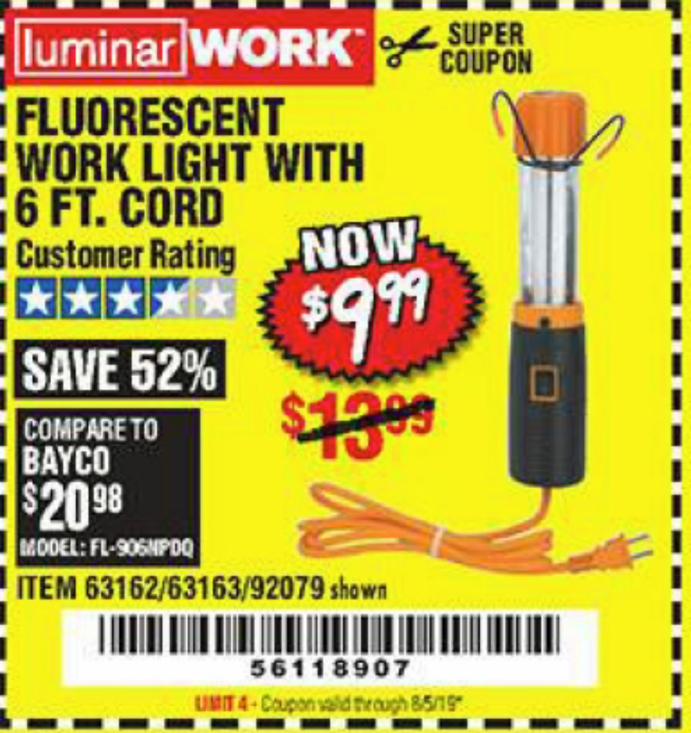 Harbor Freight Coupon, HF Coupons - Flourescent Work Light With 6 Ft. Cord