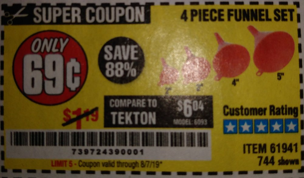 Harbor Freight Coupon, HF Coupons - 4 Piece Funnel Set