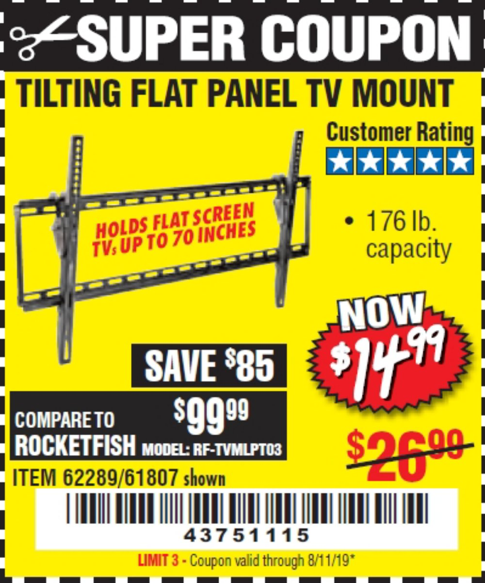 Harbor Freight Coupon, HF Coupons - Large Tilt Mount Flat Panel Tv Bracket