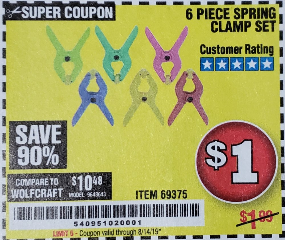 Harbor Freight Coupon, HF Coupons - 6 Piece Micro Spring Clamp Set