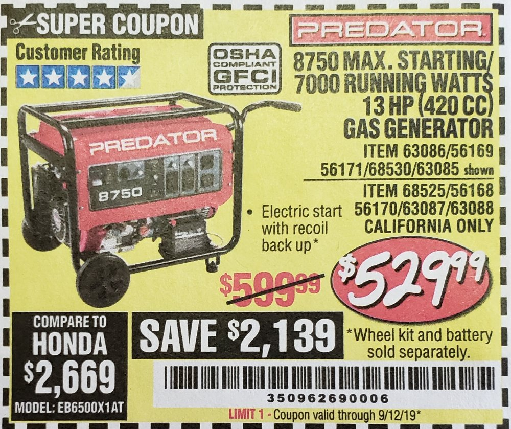 Harbor Freight Coupon, HF Coupons - 8750 Peak / 7000 Running Watts 13 Hp (420 Cc) Gas Generator