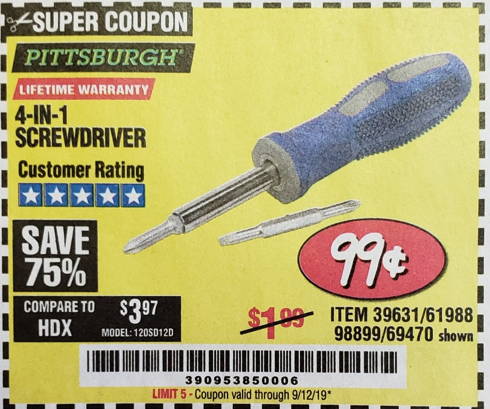 Harbor Freight Coupon, HF Coupons - 4-in-1 Screwdriver