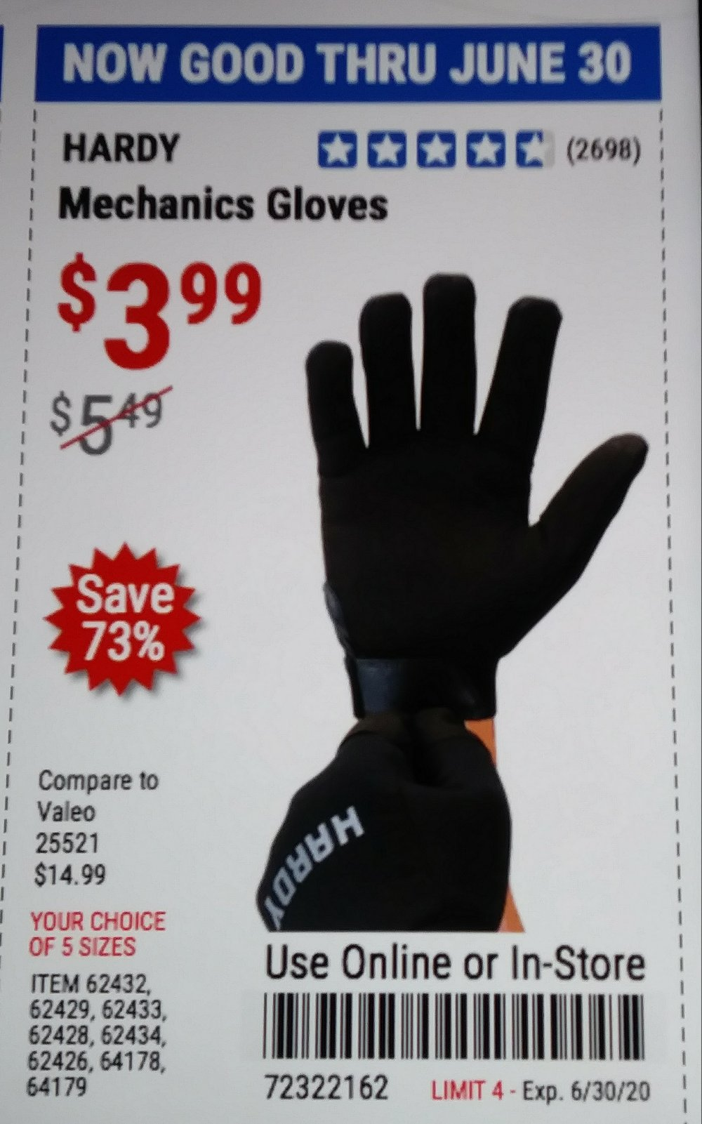 Harbor Freight Coupon, HF Coupons - Hardy Mechanic s Gloves