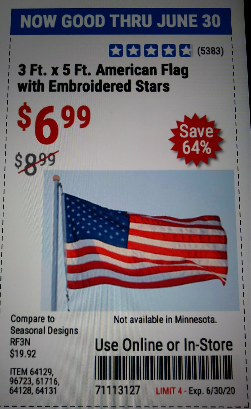 Harbor Freight Coupon, HF Coupons - 3×5 American Flag