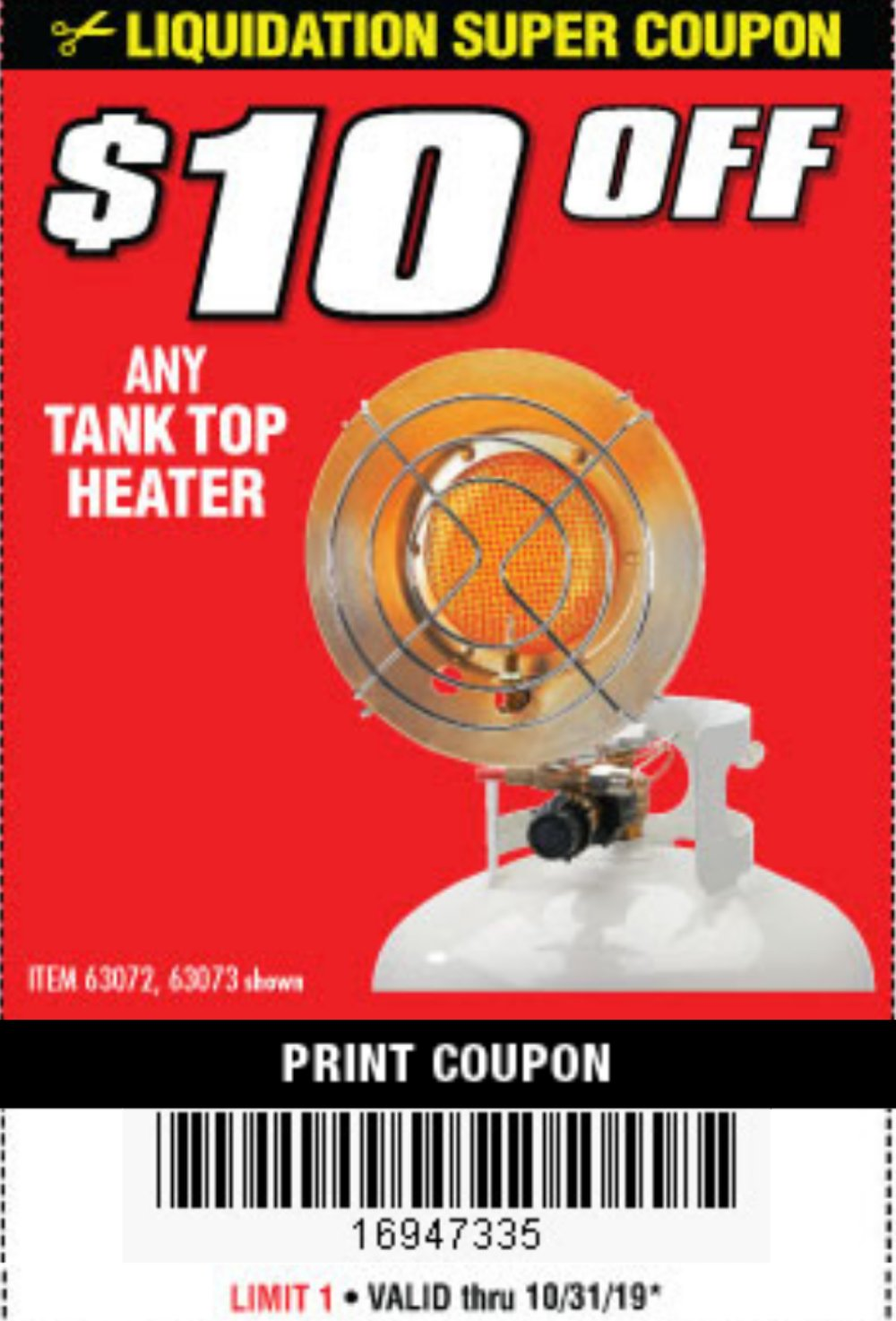 Harbor Freight Coupon, HF Coupons - $10 off propane tank heaters