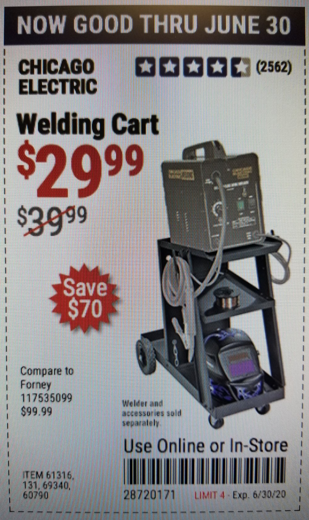 Harbor Freight Coupon, HF Coupons - Chicago Electric Welding Cart