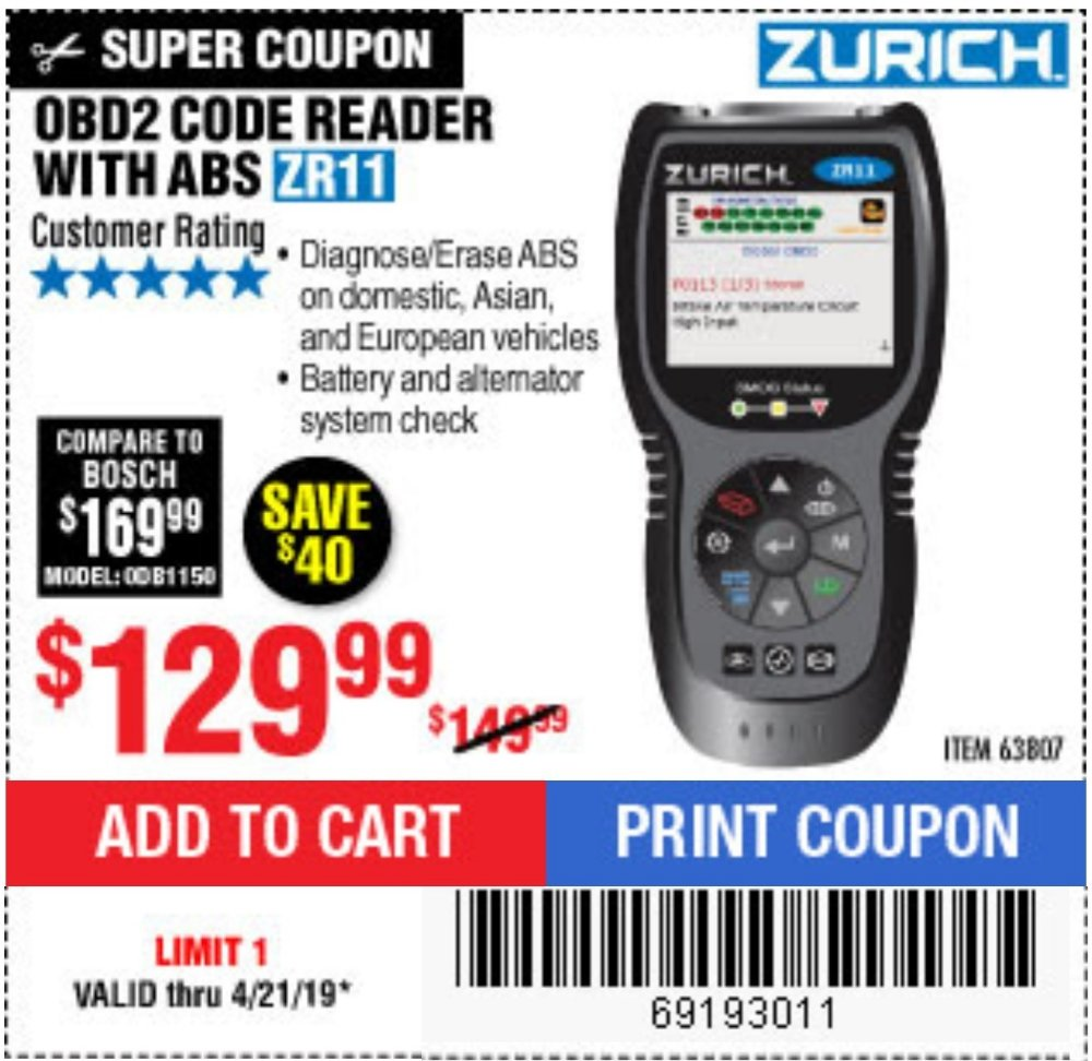 Harbor Freight Coupon, HF Coupons - Zurich Obd2 Code Reader With Abs Zr11