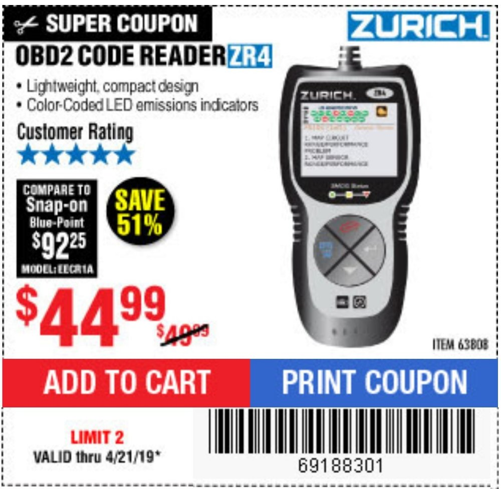 Harbor Freight Coupon, HF Coupons - Zurich Obd2 Code Reader Zr4