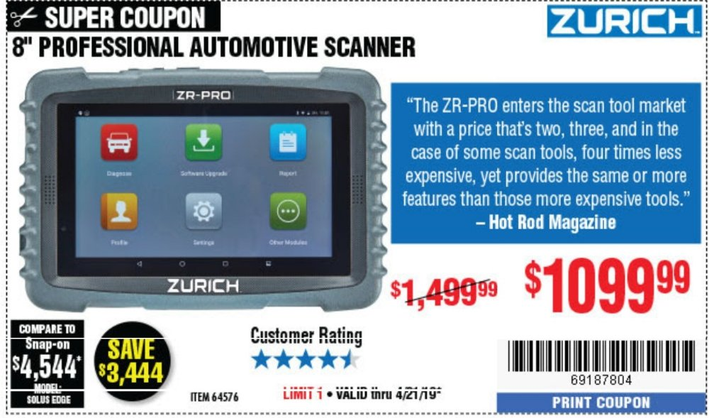 Harbor Freight Coupon, HF Coupons - Zurich Zr-pro Professional Auto Scanner