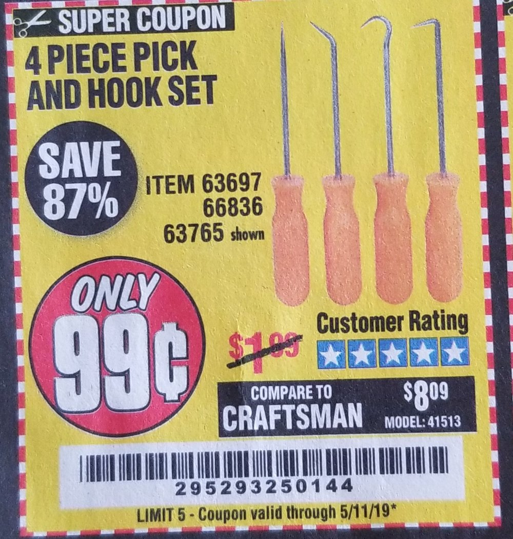 Harbor Freight Coupon, HF Coupons - 4 Pc. Pick And Hook Set