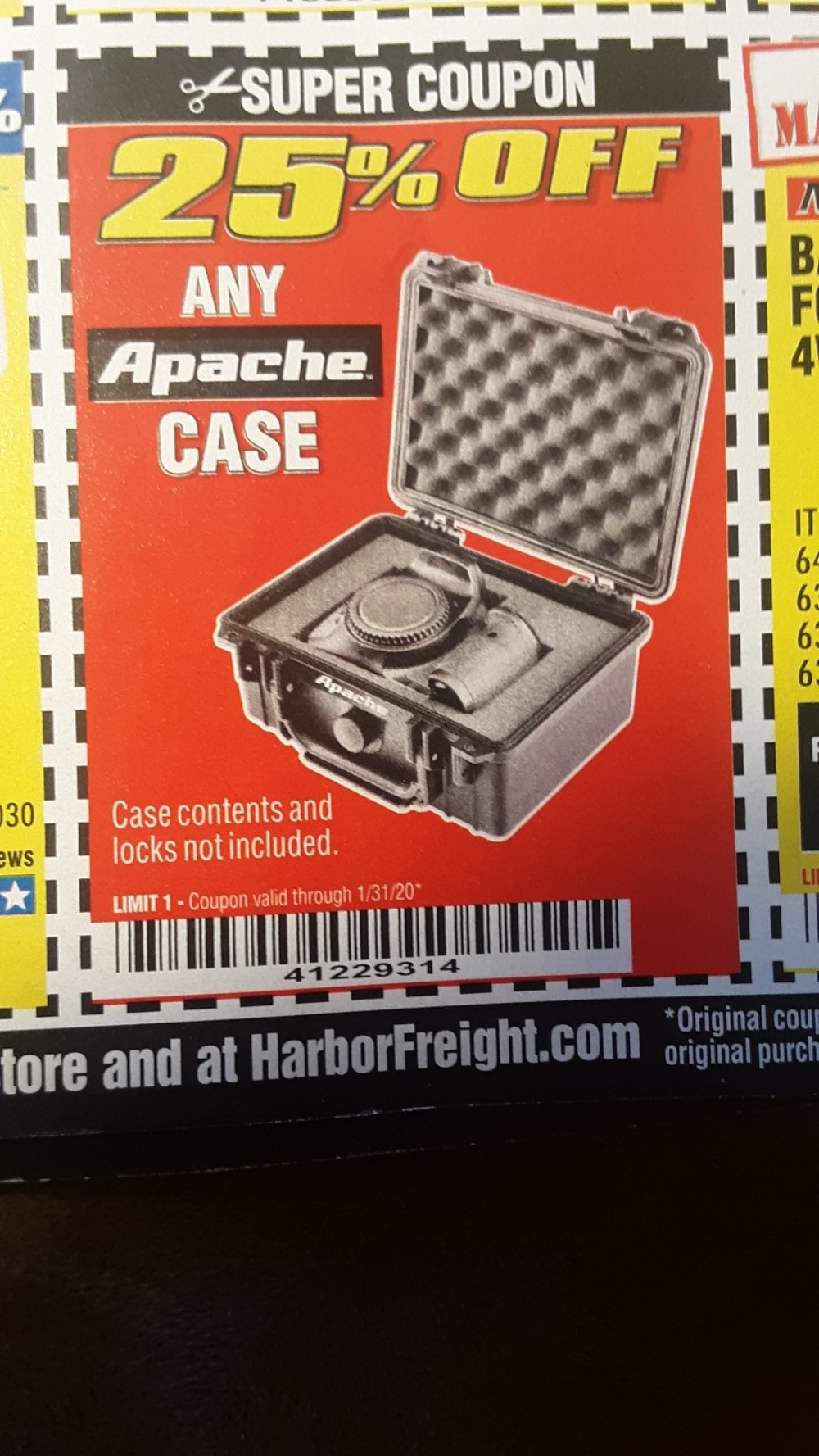 Harbor Freight Coupon, HF Coupons - 25 percent off Apache cases