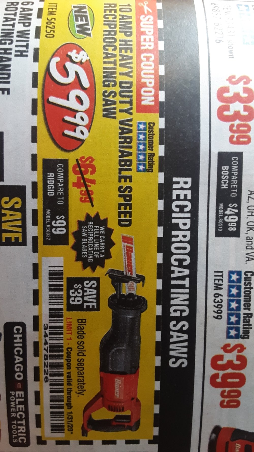 Harbor Freight Coupon, HF Coupons - 39 dollars off