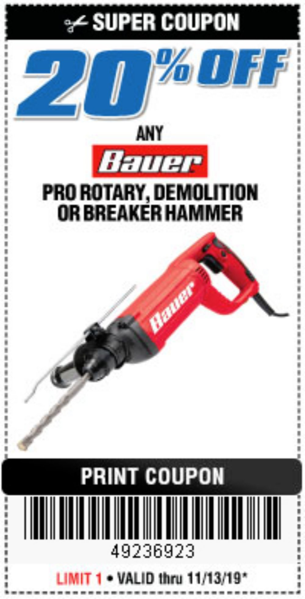 Harbor Freight Coupon, HF Coupons - Bauer rotary, breaker, demolition hammers 20% off
