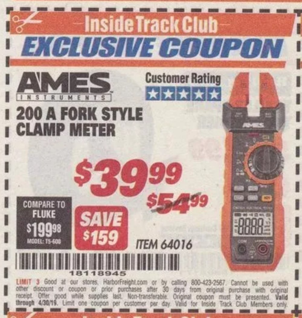 Harbor Freight Coupon, HF Coupons - Ames Fork Meter Cm200a