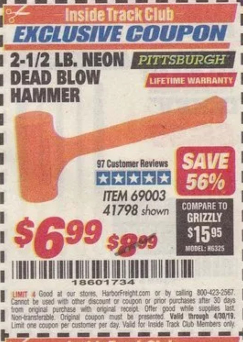 Harbor Freight Coupon, HF Coupons - 2-1/2 Lb. Neon Dead Blow Hammer