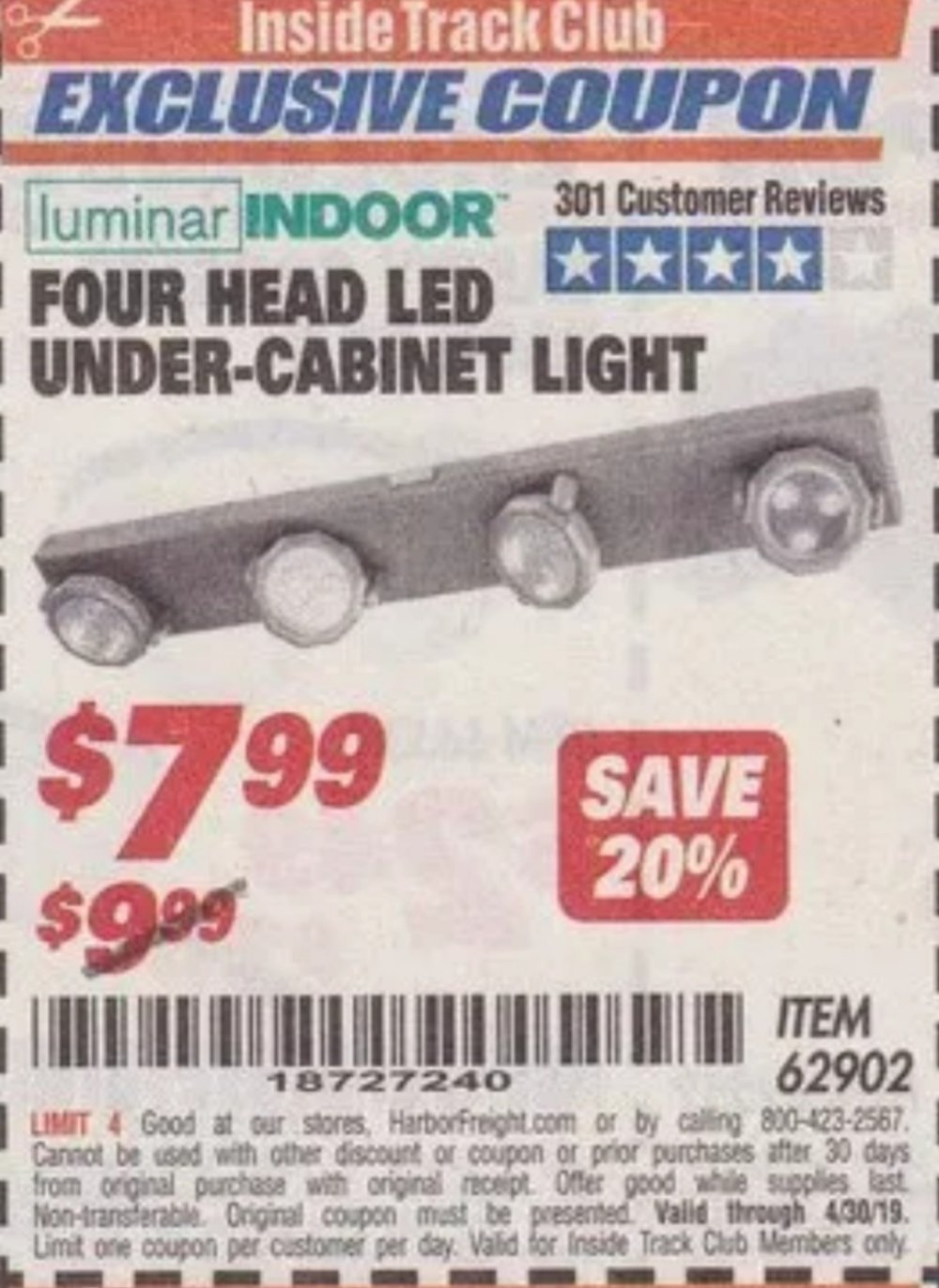 Harbor Freight Coupon, HF Coupons - 4 Head Led Under-cabinet Light