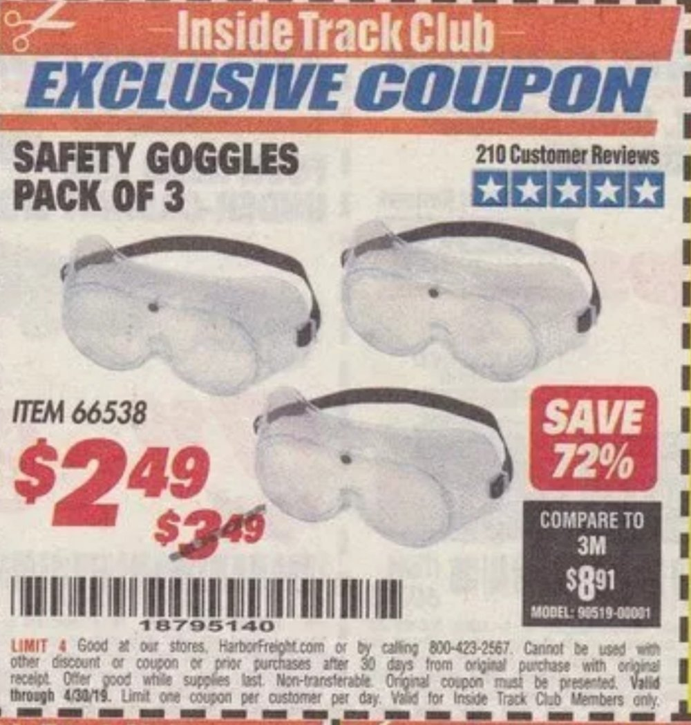 Harbor Freight Coupon, HF Coupons - Safety Goggles Pack Of 3