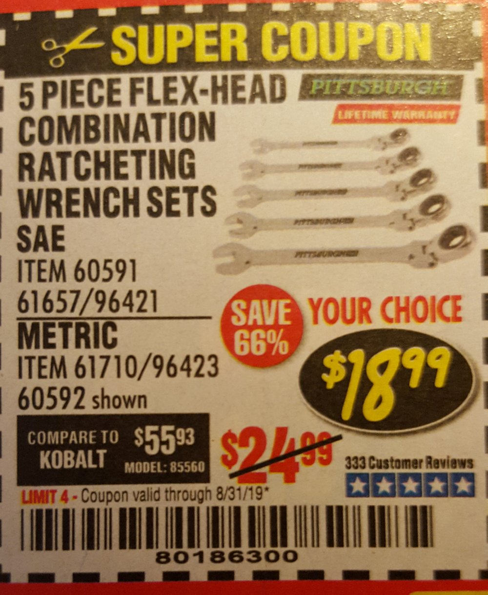 Harbor Freight Coupon, HF Coupons - 5 Piece Flex-Head Combination Ratching Wrench Set