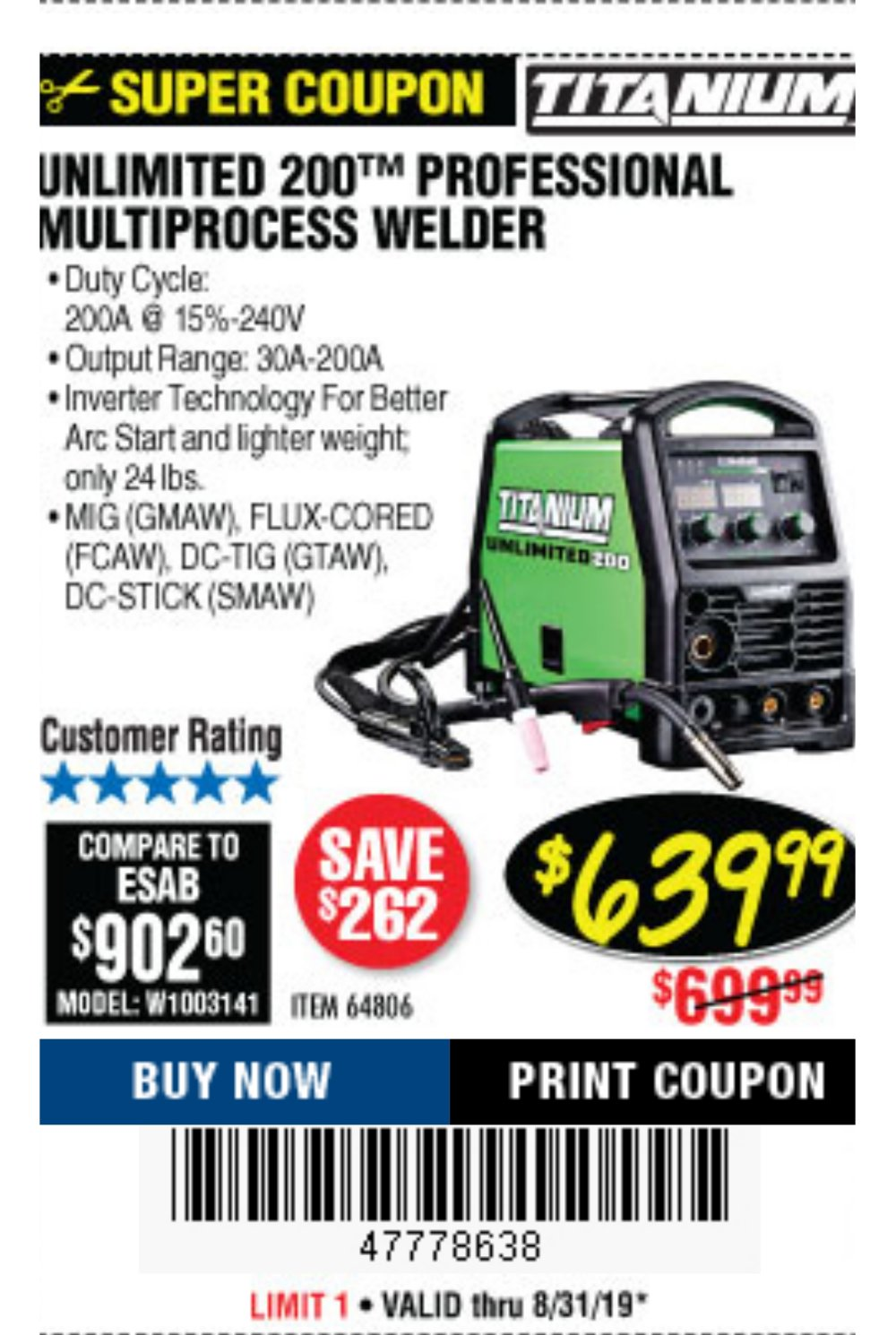 Harbor Freight Coupon, HF Coupons - Titanium Unlimited 200 Multiprocess Welder
