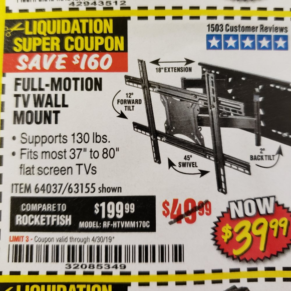 Harbor Freight Coupon, HF Coupons - Full Motion Tv Wall Mount