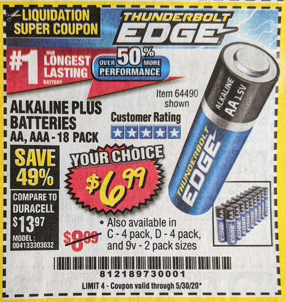 Harbor Freight Coupon, HF Coupons - Thunderbolt Edge Alkaline Plus Batteries, Aa, Aaa - 18pk