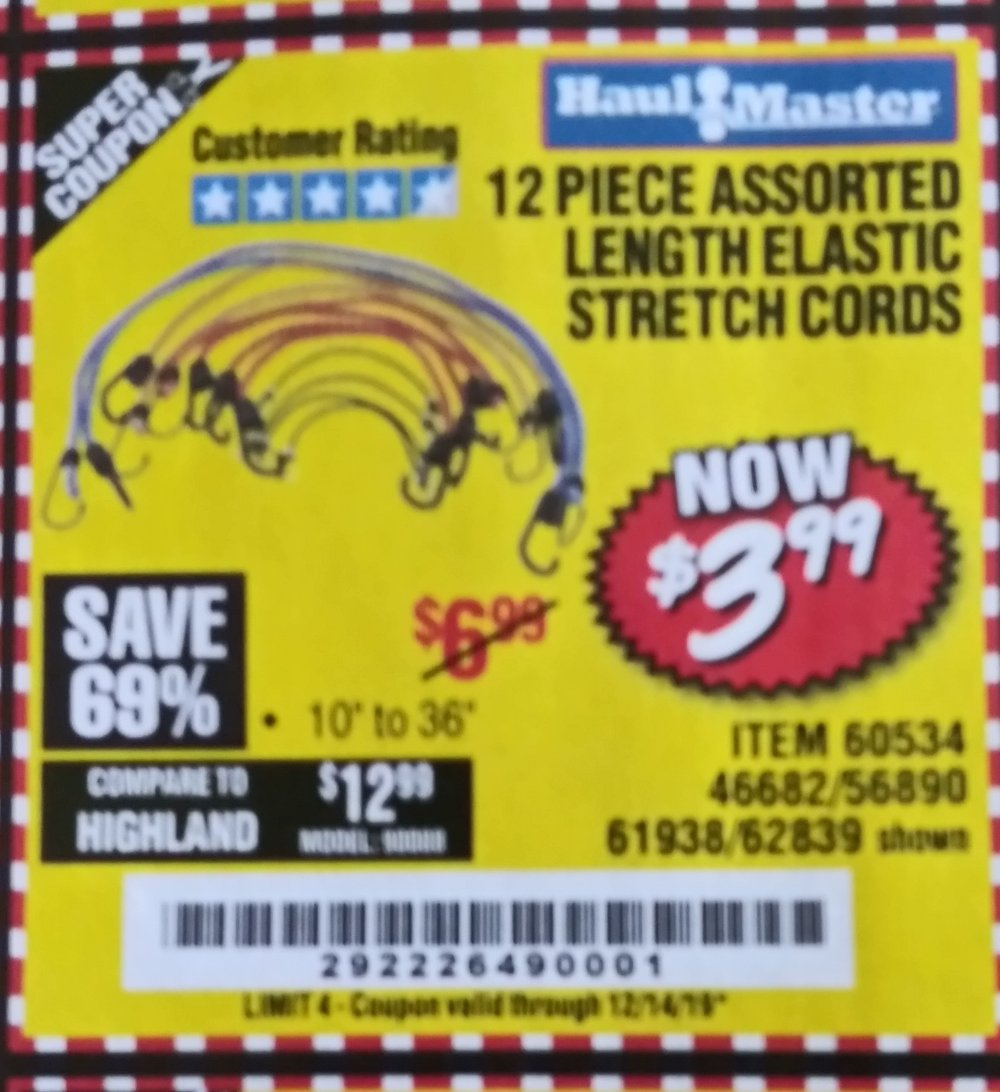 Harbor Freight Coupon, HF Coupons - 12 Piece Assorted Length Elastic Stretch Cords