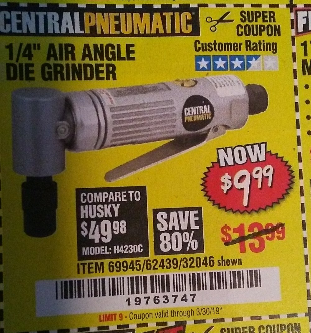 Harbor Freight Coupon, HF Coupons - Air Angle Die Grinder