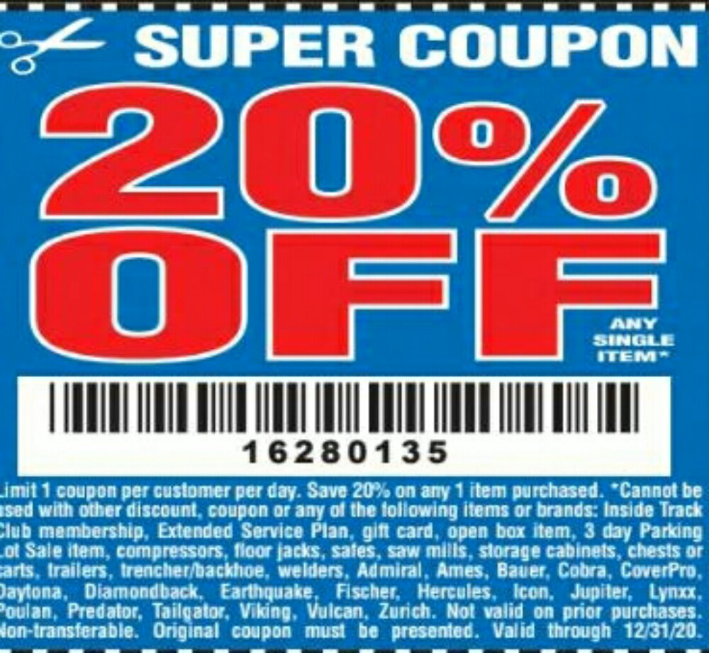 Harbor Freight Coupon, HF Coupons - 20% off good thru 12/31/20