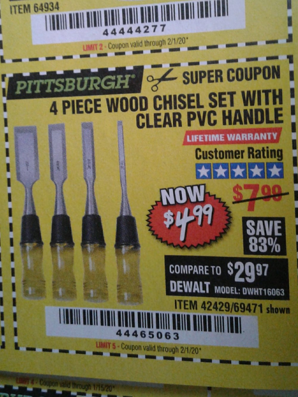 Harbor Freight Coupon, HF Coupons - 4 Piece Wood Chisel Set