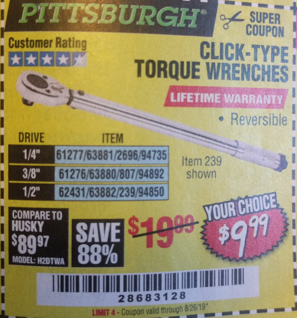 Harbor Freight Coupon, HF Coupons - Click Type Torque Wrenches