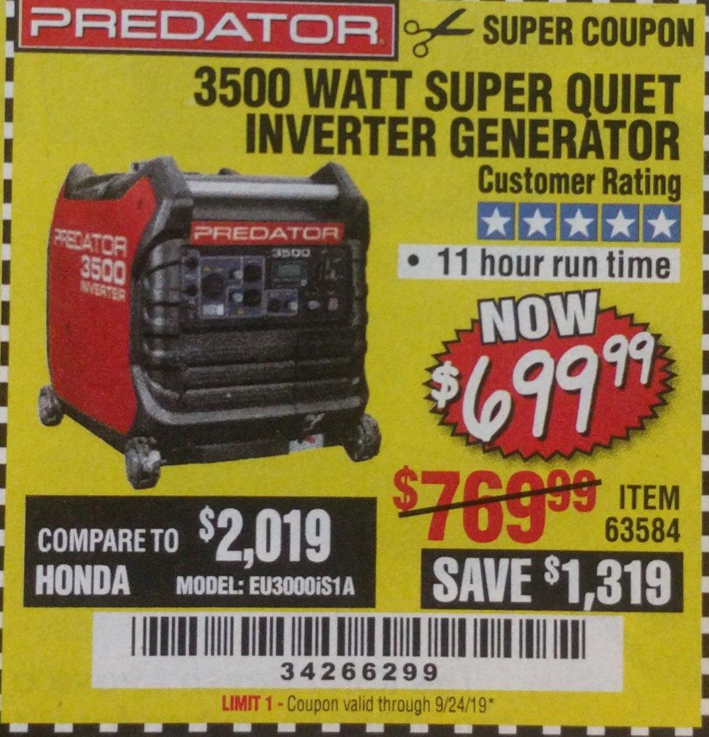 Harbor Freight Coupon, HF Coupons - 3500 Watt Super Quiet Inverter Generator