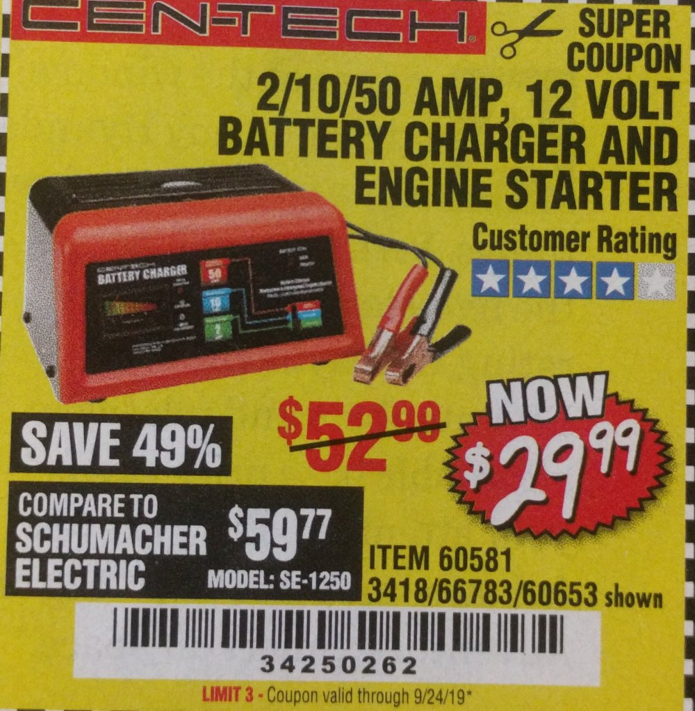 Harbor Freight Coupon, HF Coupons - 2/10/50 Amp, 12 Volt Battery Charger and Engine Starter