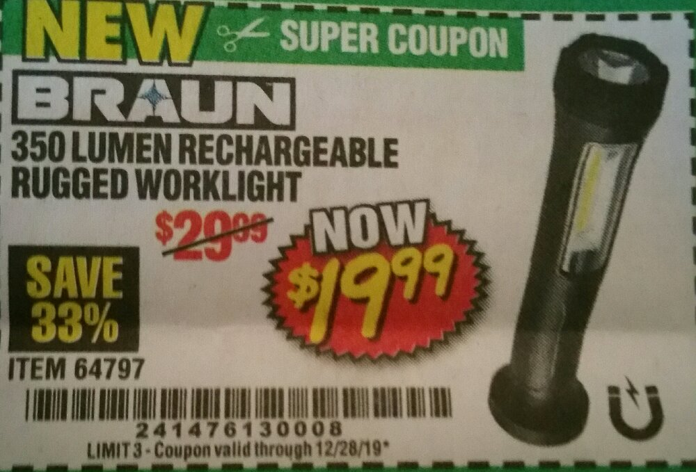Harbor Freight Coupon, HF Coupons - 350 Lumen Rechargeable Rugged Work Light
