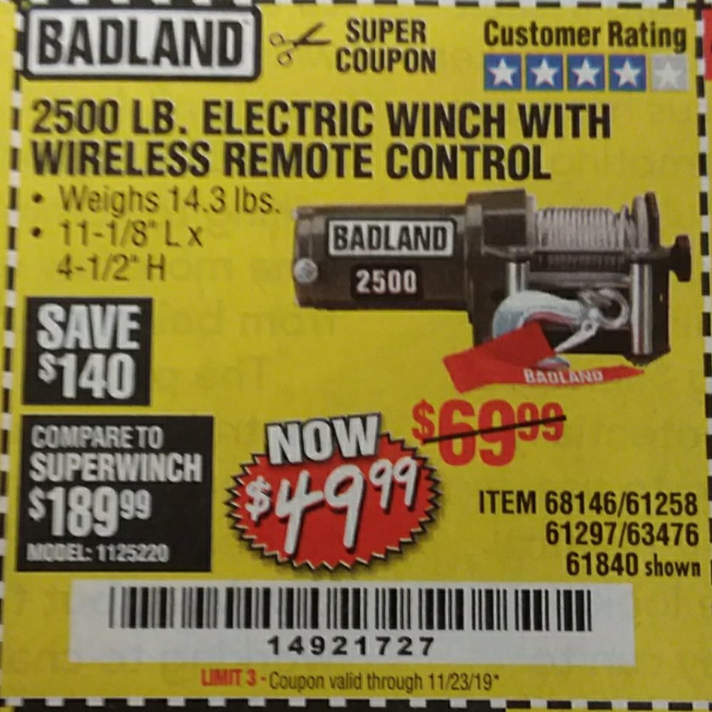 Harbor Freight Coupon, HF Coupons - 2500 lbs winch
