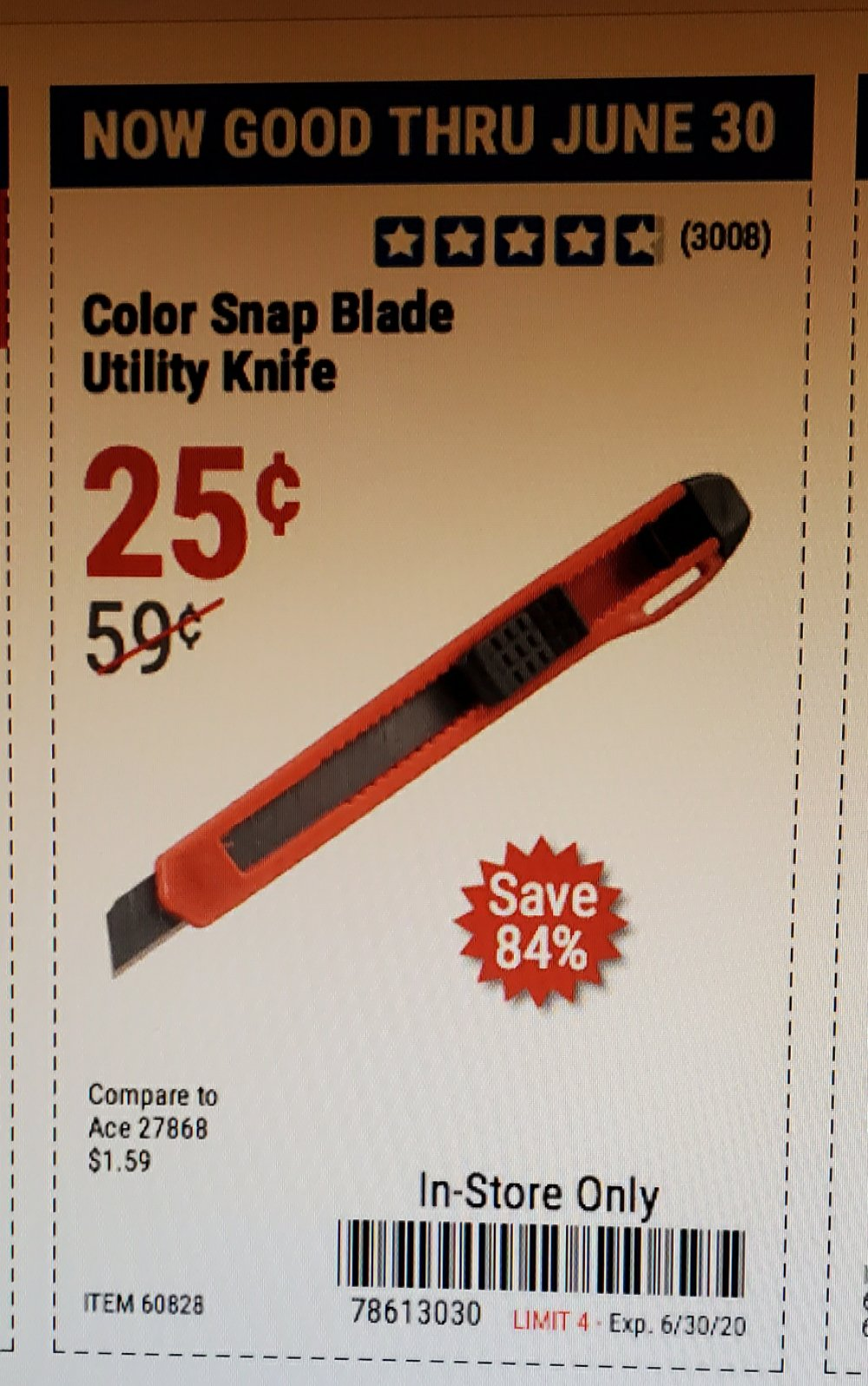 Harbor Freight Coupon, HF Coupons - Color Snap Blade Utility Knife