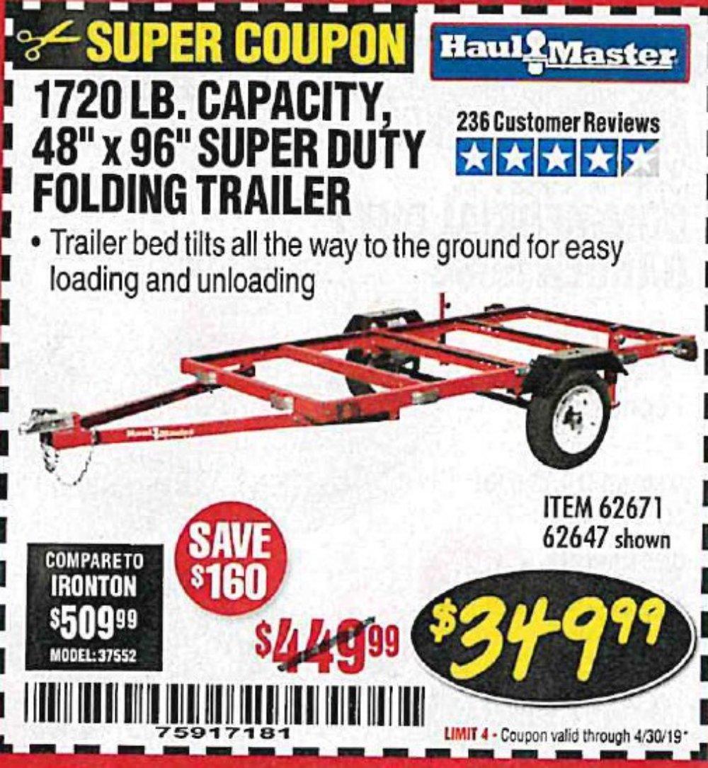 Harbor Freight Coupon, HF Coupons - 1720 lb trailer