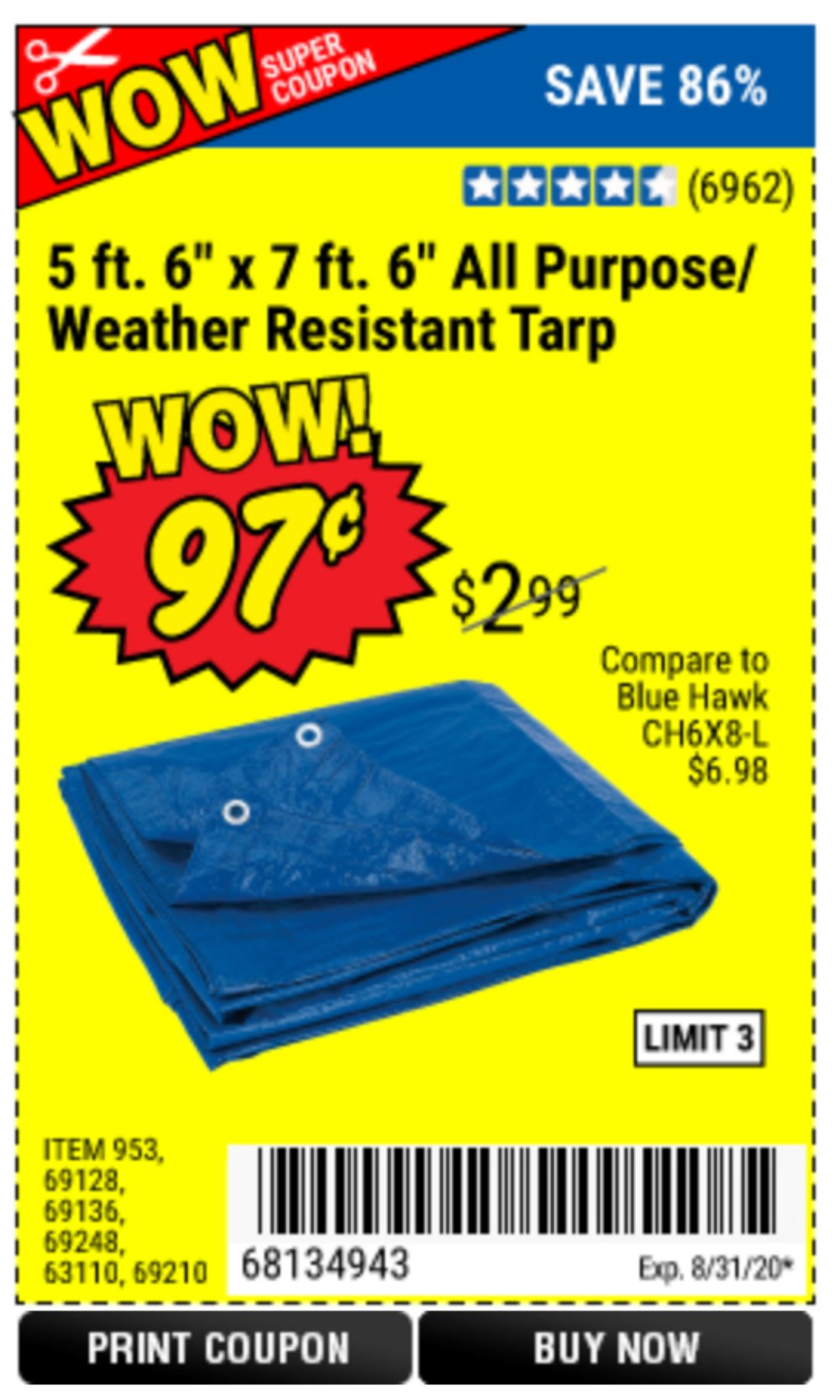 Harbor Freight Coupon, HF Coupons - Free All Purpose Tarp with Purchase through 3/1/20