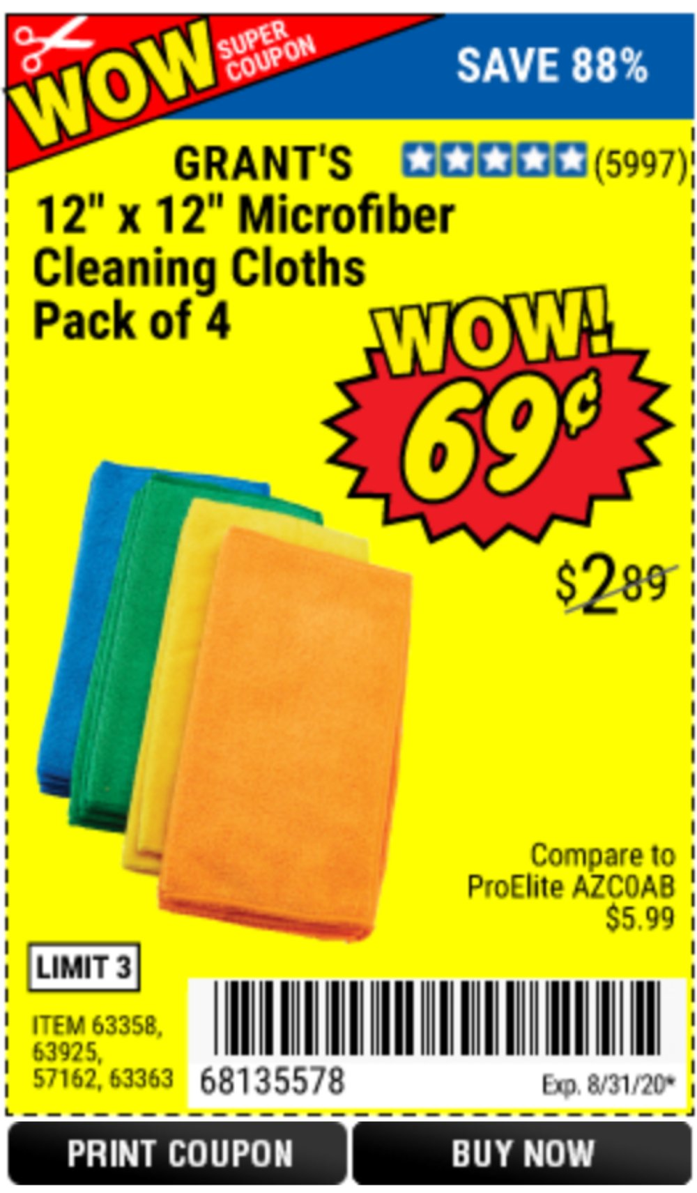 Harbor Freight Coupon, HF Coupons - Microfiber Cleaning Cloths Pack Of 4