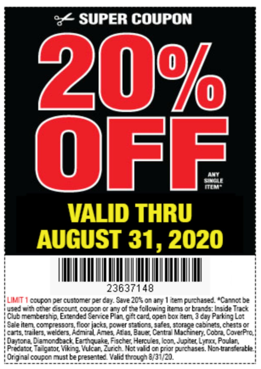 Harbor Freight Coupon, HF Coupons - 20% Off Any Single Item