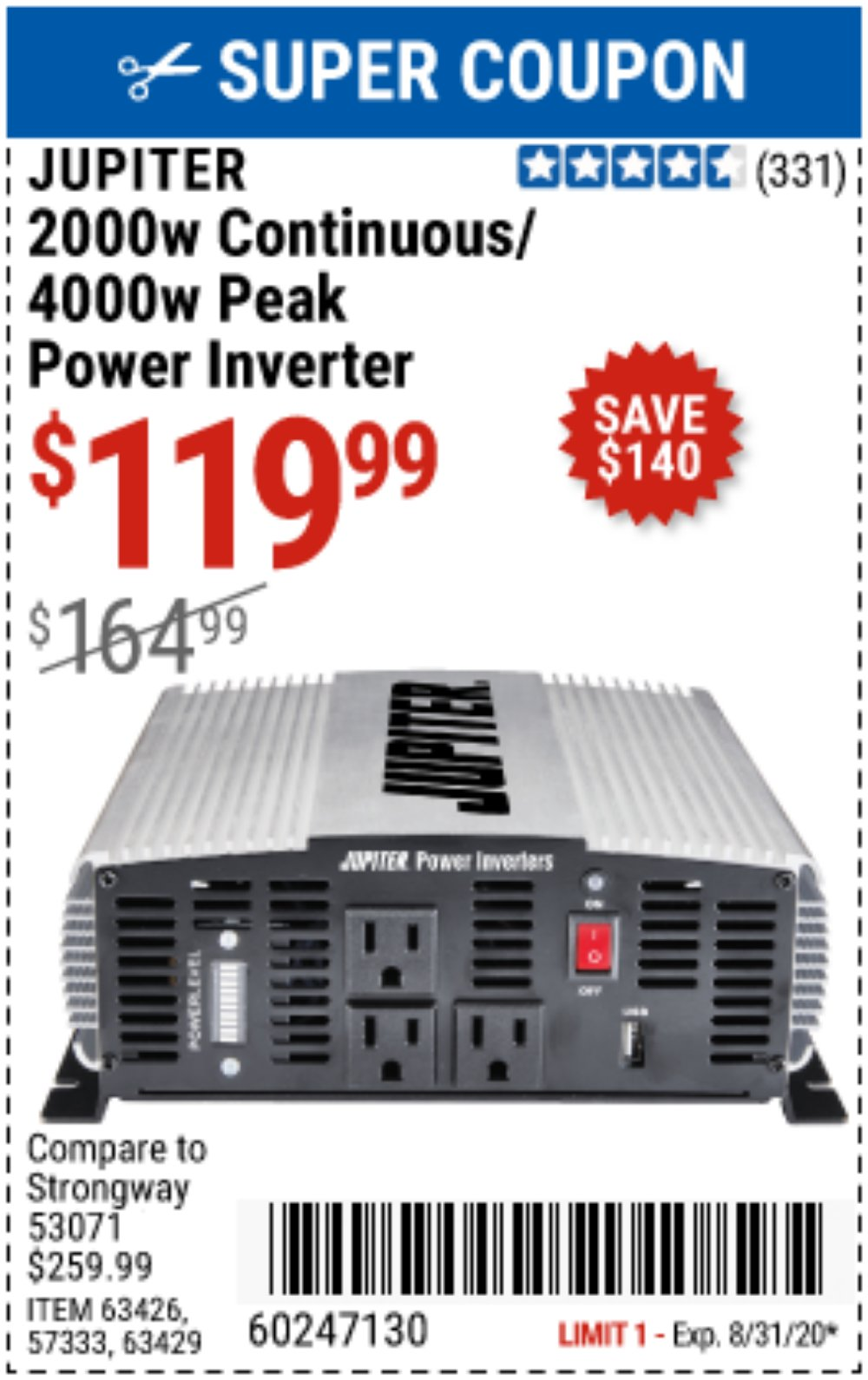 Harbor Freight Coupon, HF Coupons - 2000 Watt Continuous/4000 Watt Peak Power Inverter