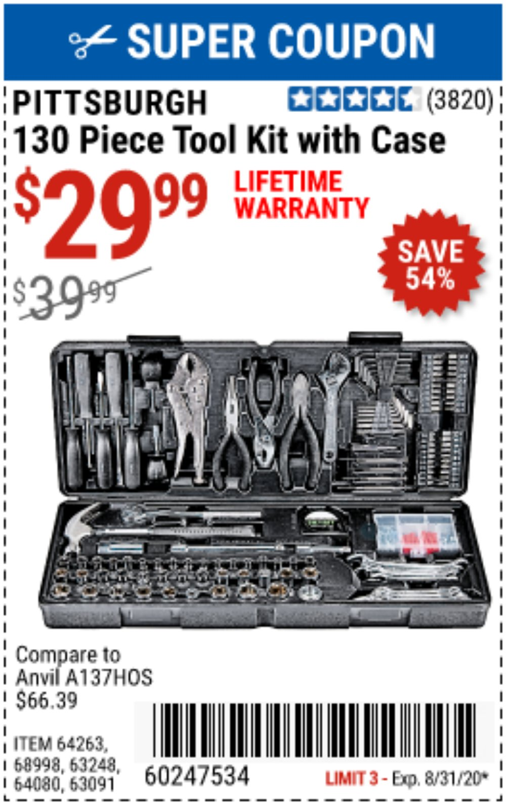 Harbor Freight Coupon, HF Coupons - 130 Piece Tool Kit With Case