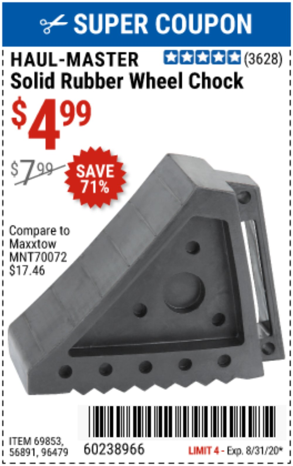 Harbor Freight Coupon, HF Coupons - Solid Rubber Wheel Chock