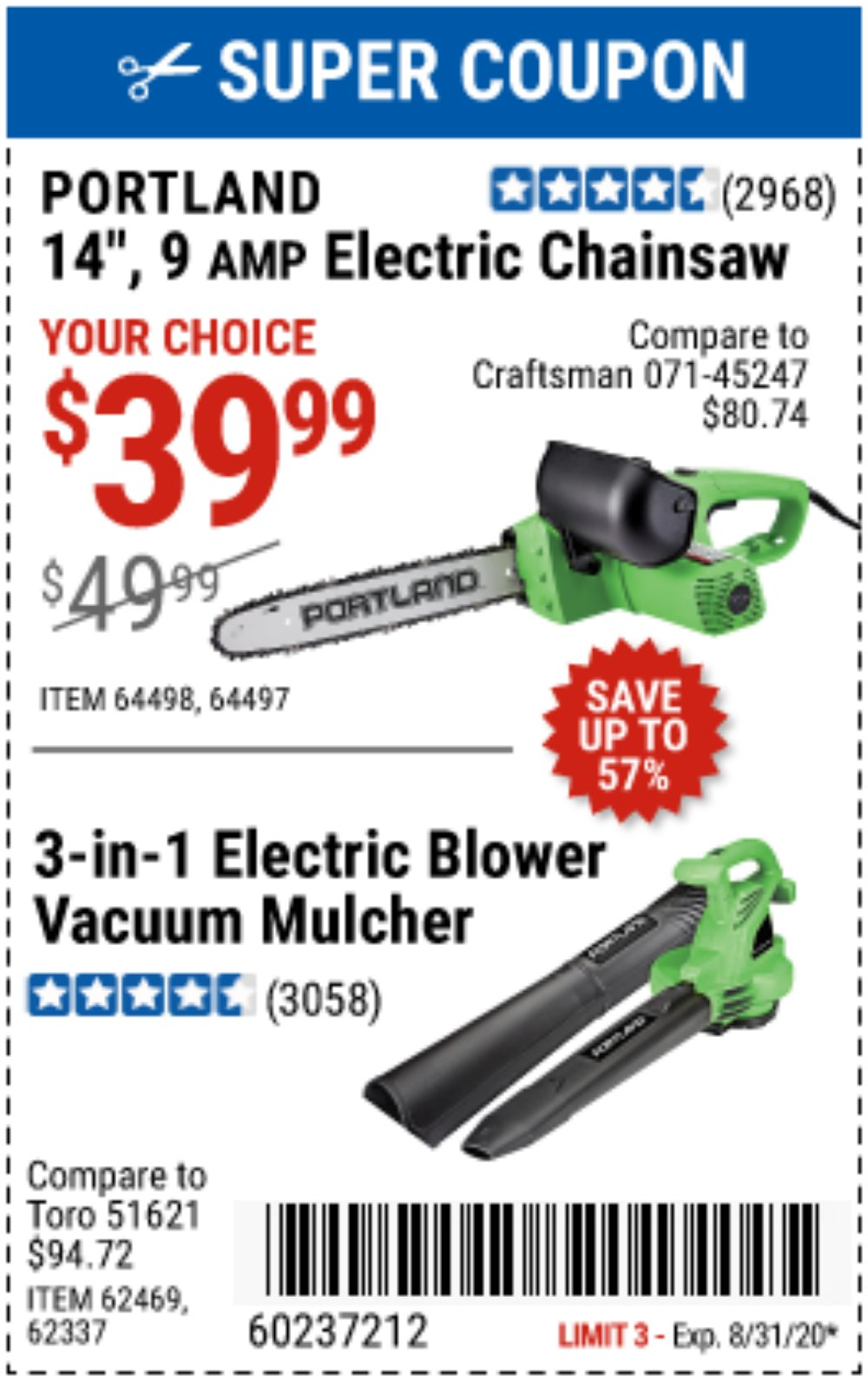 Harbor Freight Coupon, HF Coupons - 3 In 1 Electric Blower Vacuum Mulcher