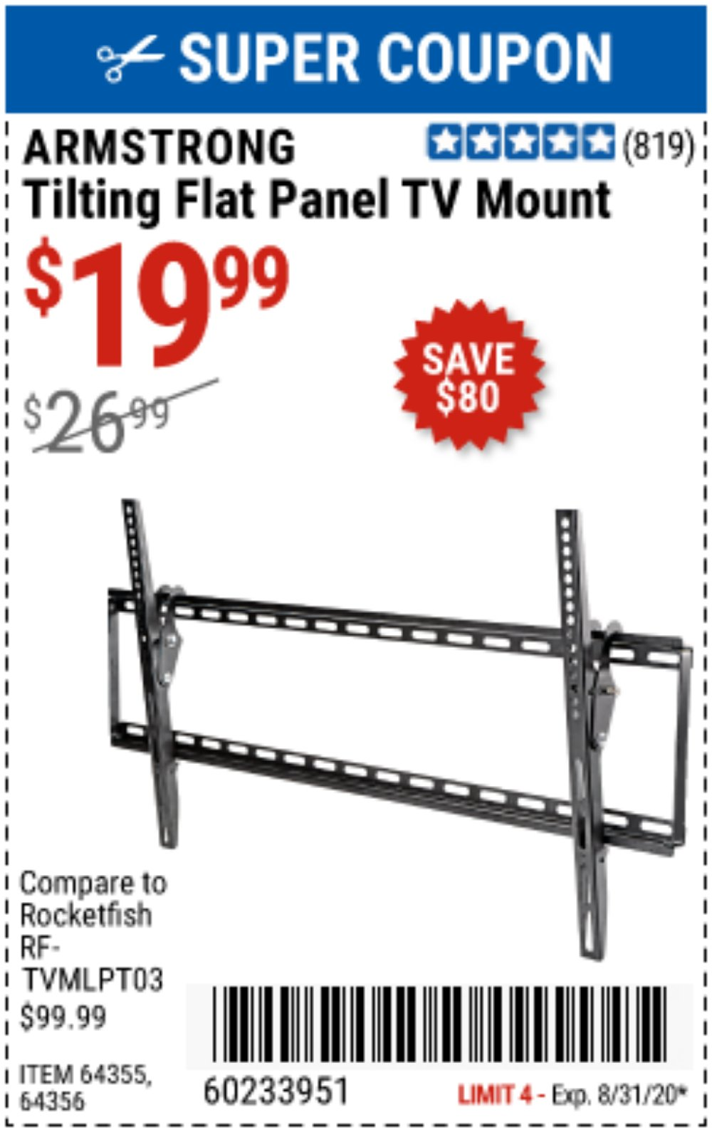 Harbor Freight Coupon, HF Coupons - ARMSTRONG Large Tilt Flat Panel TV Mount for $19.99