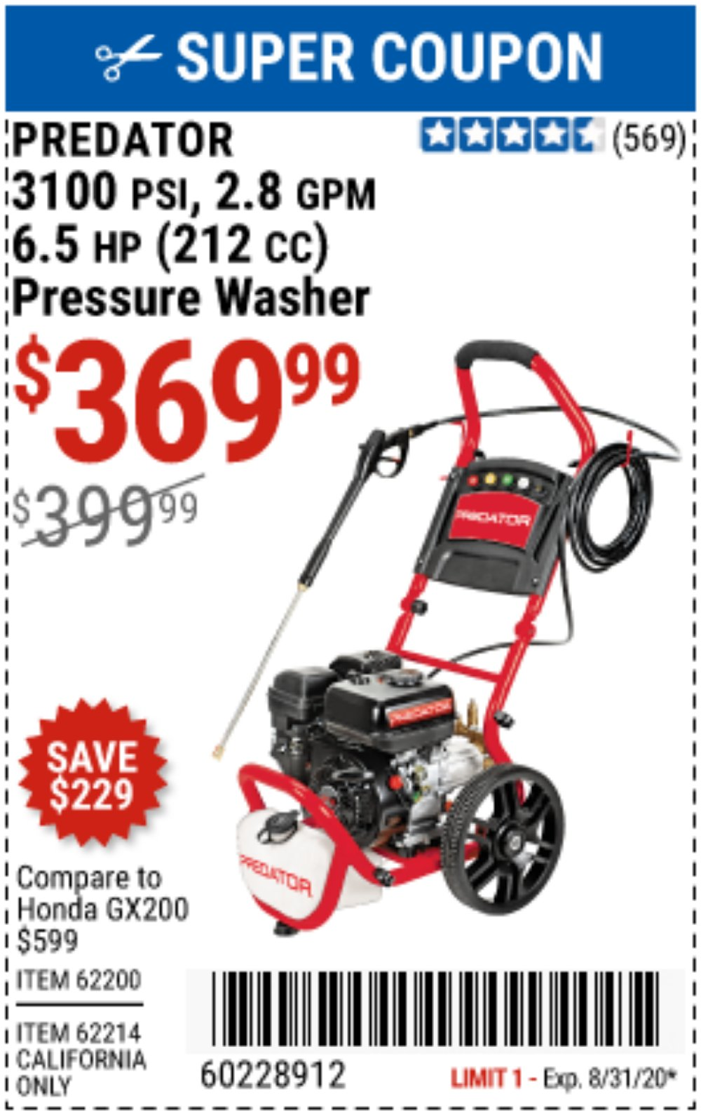 Harbor Freight Coupon, HF Coupons - 3100 Psi, 2.8 Gpm 6.5 Hp (212 Cc) Gas Powered Pressure Washers With 25 Ft. Hose