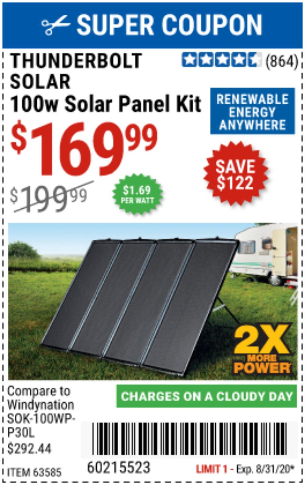 Harbor Freight Coupon, HF Coupons - 100 Watt Solar Panel Kit