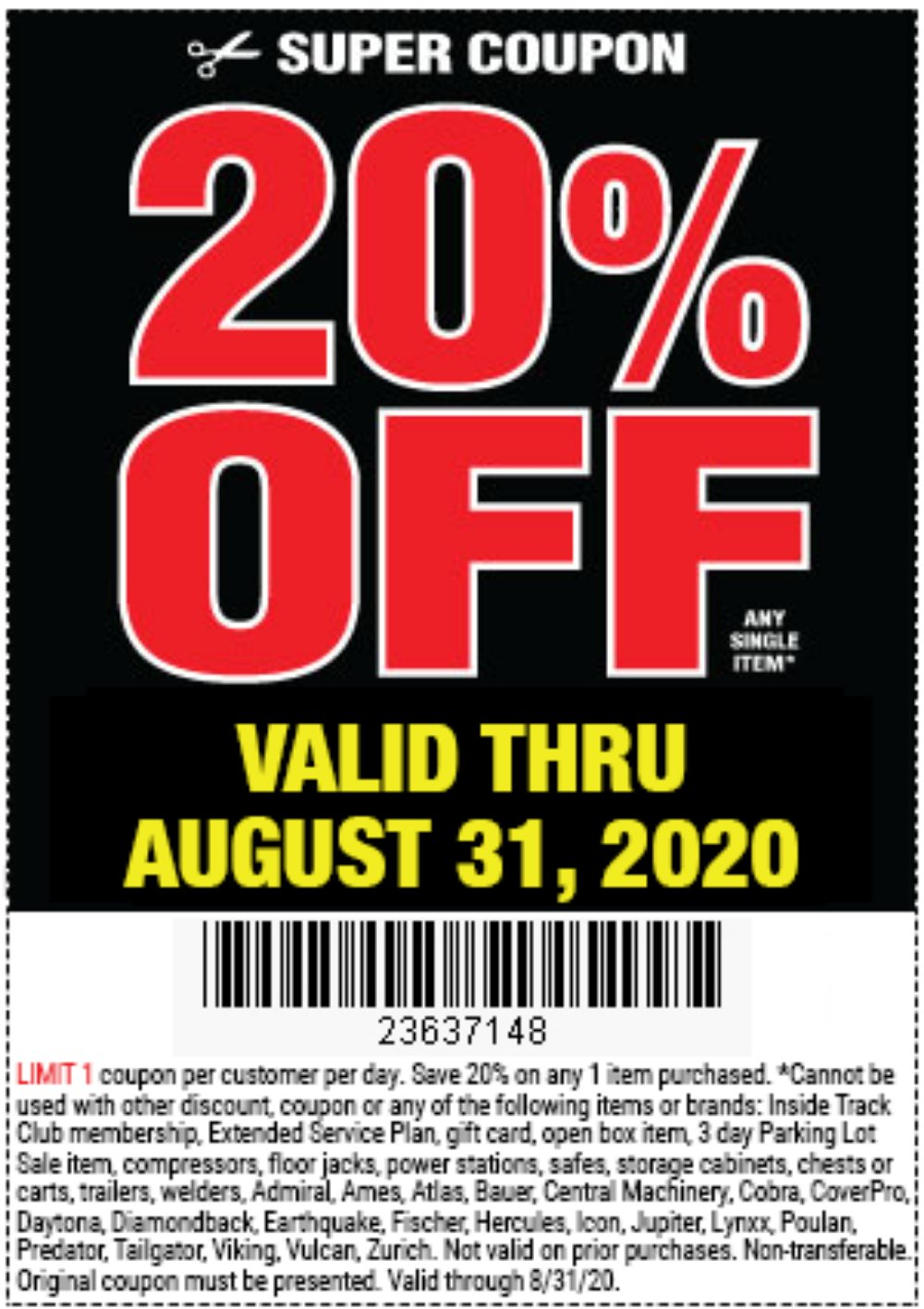 Harbor Freight Coupon, HF Coupons - 20 Percent Off Any Item