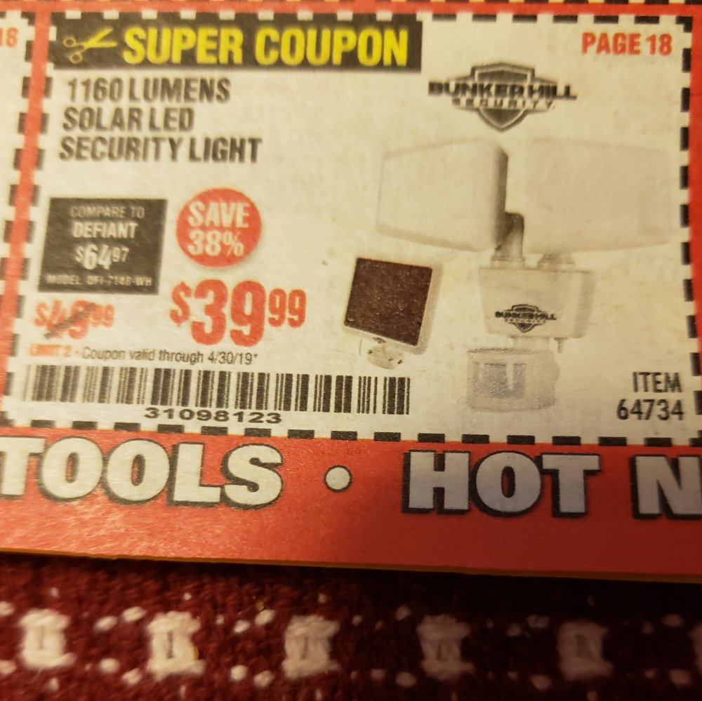 Harbor Freight Coupon, HF Coupons - solar led security light 1160 lumens